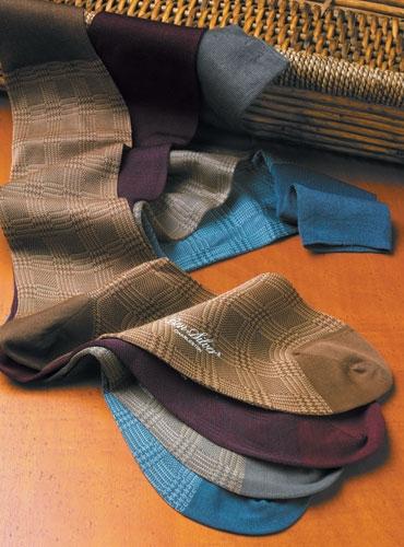 Glen Plaid Cotton Dress Socks