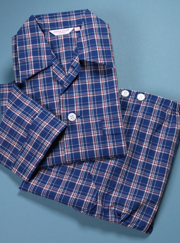 Cotton Check Pajamas in Royal Blue