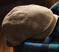 Wool Aberford Brown Herringbone Cap