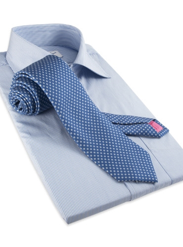 Silk Print Polka Dot Tie in Cobalt