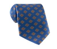 Silk Diamond Print Tie in Atlantic