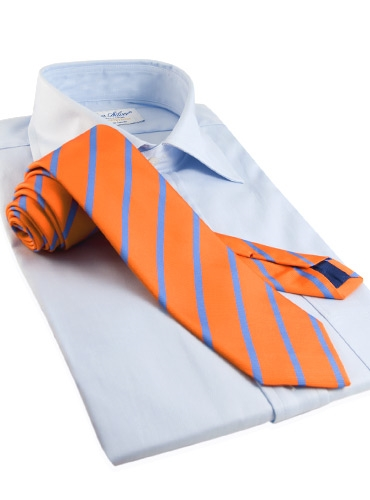 Mogador Bar Stripe Tie in Tangerine