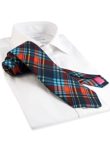 Cotton Plaid Tie in Navy