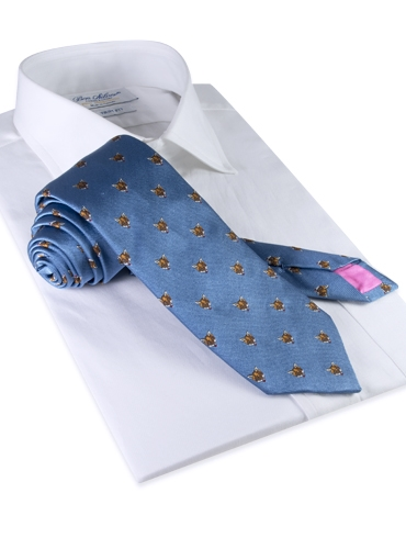 Silk Woven Fox Motif Tie in Sky
