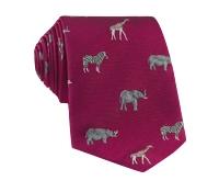 Jacquard Woven Animal Motif Tie in Raspberry