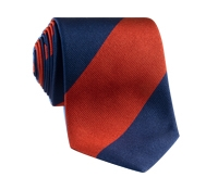 Silk Block Stripe Tie in Ruby