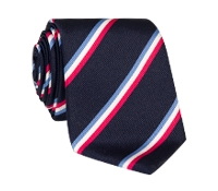 Silk Triple Stripe Tie in Navy