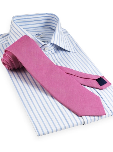 Oxford Weave Solid Silk Tie in Hibiscus