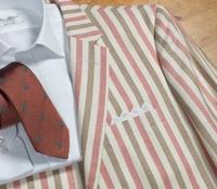 Jacket Wool, Silk, Linen Cream, Red & Brown Stripe