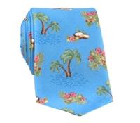 Silk Print Luau Tie in Cobalt