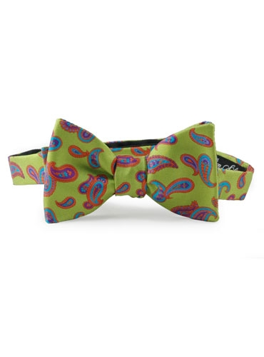 Printed Paisley Bowtie Lime