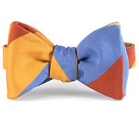 Mogador Silk Block Stripe Bow in Orange, Saffron, and Cobalt