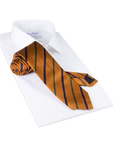 Silk Stripe Tie in Gold