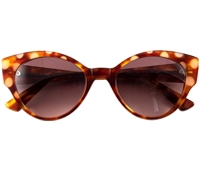 Cateye Sunglasses in Amber with Nude Dots