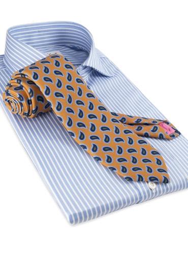 Wool Print Paisley Tie in Marigold