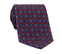 Silk Flower Motif Tie in Wine