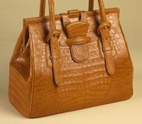 Doctor Bag in Light Peanut Caiman Crocodile