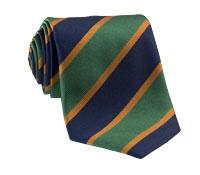 Silk Block Stripe Tie in Kelly and Navy