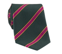 Silk Stripe Tie in Forest and Fuchsia