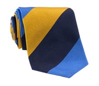 Silk Block Stripe Tie in Marigold, Cornflower, and Navy