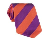 Silk Woven Block Stripe Tie in Orange and Purple