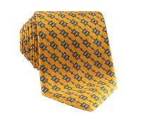 Silk Horse Motif Tie in Marigold