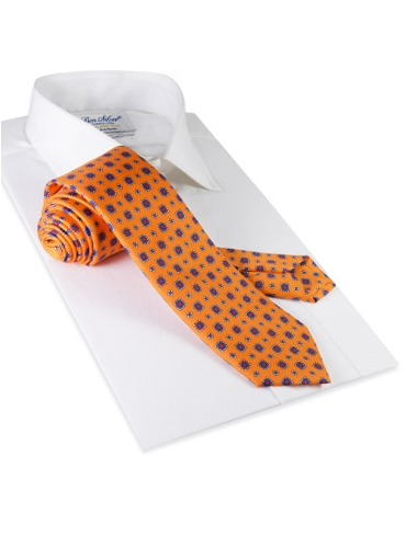Silk Neat Print Tie in Tangerine