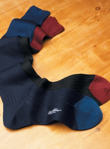 Two-Tone Ribbed Cotton Socks