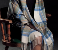 Cashmere Stole in Cream, Sage and French Blue