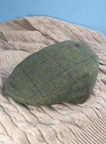 Wool Garforth Motoring Cap in Green with Blue Windowpane