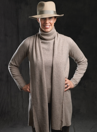 Ladies Cashmere Shawl Cardigan in Moondust