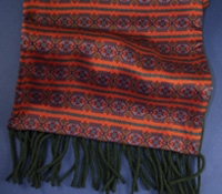 Wool and Silk Aztec Printed Scarf in Copper