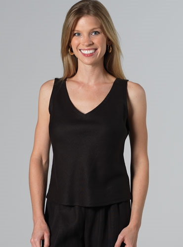 Linen Débardeur Top in Black