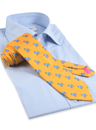 Silk Print Dog Motif Tie in Marigold
