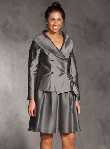 Grey Silk Jacket and Pleated Skirt