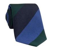 Silk Woven Multi Stripe Tie in Indigo, Tartan, Regal