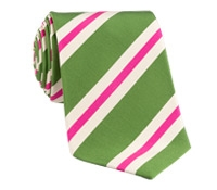 Mogador Silk Stripe Tie in Fern
