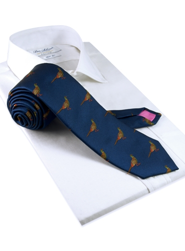 Silk Woven Pheasant Motif Tie in Royal Blue