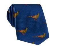 Silk Woven Pheasant Motif Tie in Royal Blue