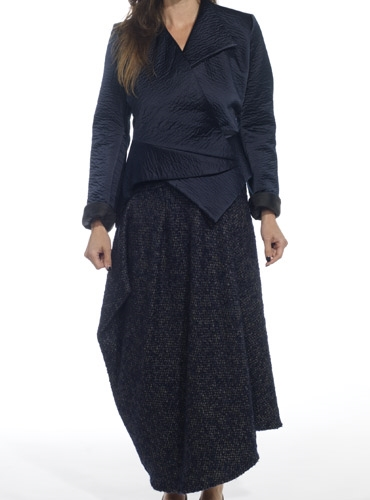 Marie Meunier Silk and Cashmere Apostrophe Wrap Skirt in Grey and Blue