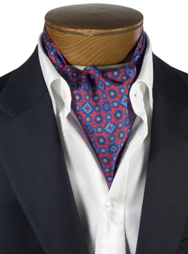 Silk Printed Ascot With Mosaic Motif in Fire