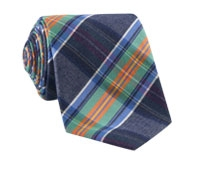 Woven Mogador Plaid Tie in Navy