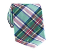 Silk Woven Plaid Tie in Teal