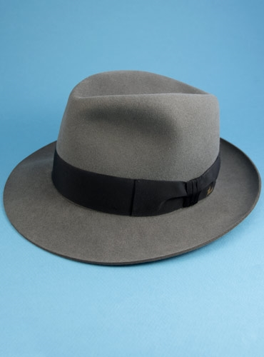 Rabbit Fur Felt Fedora in Grey