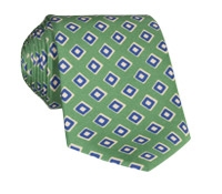 Silk Print Diamond Motif Tie in Fern