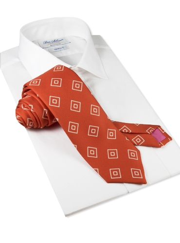 Silk Diamond Printed Tie in Orange