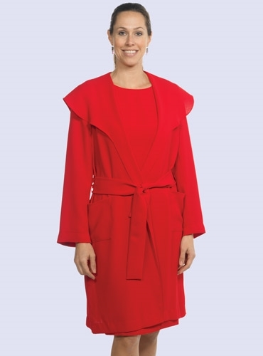 Ladies Crepe Coat in Cornelian Red