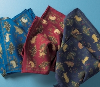 Wool and Silk Hare Motif Pocket Squares