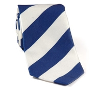 Marine Blue and White Block Stripe Tie