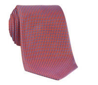 Silk Basketweave Tie in Chilli and Cobalt
